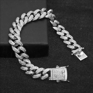 New 18 k white gold iced out Cuban bracelet